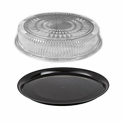 """Durable Packaging 12"""" Flat Black Plastic Catering Tray w/Dome Lid 10 Sets - Disp"""