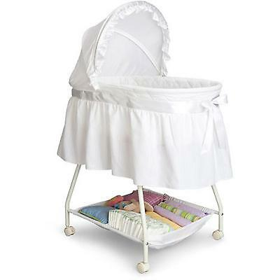 White Baby Bassinet Baby Infant Cradle Newborn Crib Wheels Portable