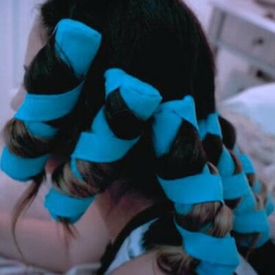 8pcs Nighttime Hair Curler Heat-free Long Hair Roller DIY Curls Styling Kit Blue