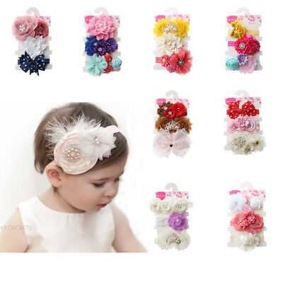3 pcs/lot Charming Cotton Baby Girls Bow Headband Hairband Kids Hair Accessories