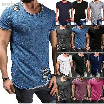 Men Short Sleeve Hole Shirts Tee Muscle Slim Summer Cotton Casual Top Tee S-3XL