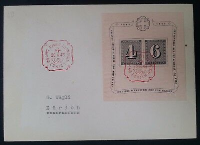 SCARCE 1943 Switzerland Centenary of Swiss Postage Stamps FDC with minisheet