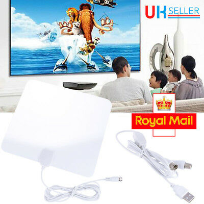 Indoor Amplified TV Aerial Digital HDTV Antenna Signal Booster 50 Miles White UK