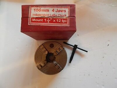 """Metalwork lathe 150mm 4 jaw independent chuck. 1 1/8"""" x 12tpi."""