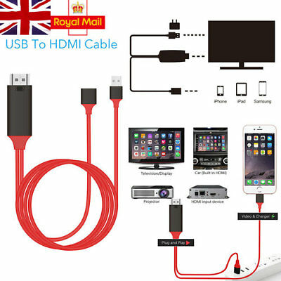 For Samsung Galaxy S5 S7 Edge S8 1080P MHL Micro USB HDMI HDTV Adapter Cable UK