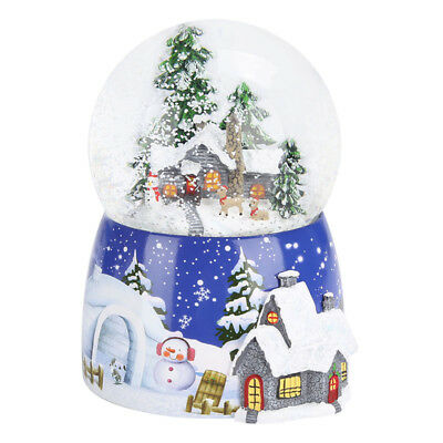 Snowman&tree house Musical Box Snow Globe Waterball Rotating Xmas Crafts Gift AU