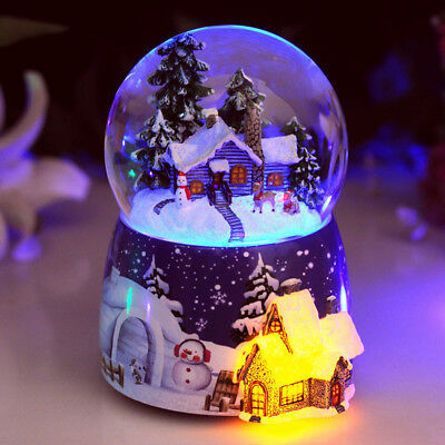 LED Xmas tree house Musical Water Snow Globe Music Box Rotating Crafts Gift Toys
