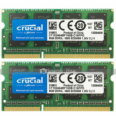 Crucial 16GB KIT 2x8GB PC3L-12800 DDR3 1600MHz 204Pin SoDIMM Laptop Memory 1.35V