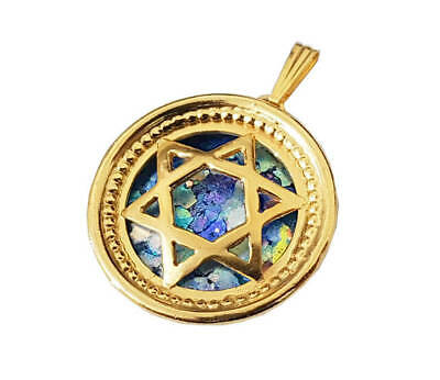 14K Yellow Gold Roman Glass Star of David Round Pendant, Magen David Pendant