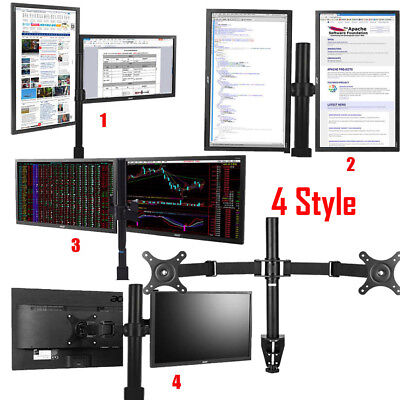 "Double Arm Desk Mount LCD LED Computer Monitor Bracket Stand 10-27"" Screen TV"