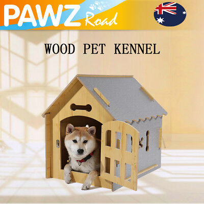 Dog House Kennel Pet Cat Timber Wooden Log Cabin Outdoor Indoor Puppy Bed Cage
