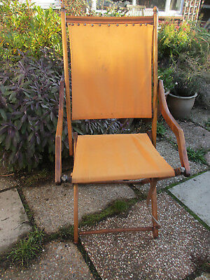 Folding Campaign Chair wooden frame with canvas needs some tlc Meeking & Co