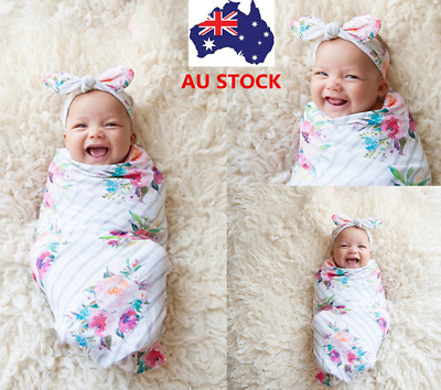 2PCS Newborn Infant Baby Swaddle Blanket Sleeping Swaddle Muslin Wrap+Headband