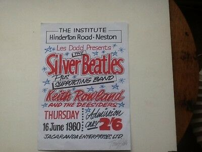 Signed Beatles flier and plaque