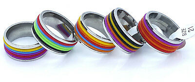Ring Band Multi-Coloured Stainless Steel 316L Women's Men's Design 9Mm Large
