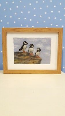 Needle felted picture ''Three Little Puffins'
