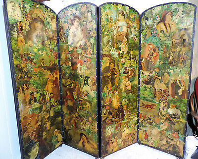 Antique Four Fold Victorian Decoupage Scrap Screen CAN DELIVER