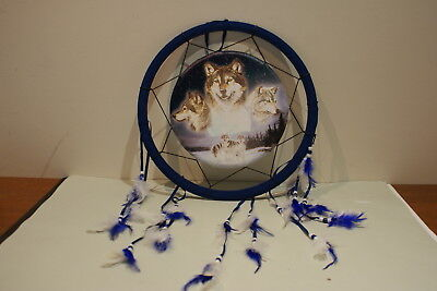 Wolf Design Dream Catcher With Feathers 35Cm Brand New