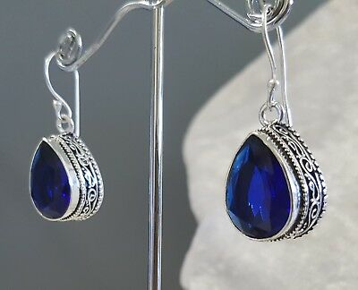 925 Sterling Silver Overlaid Faceted Sapphire Hook Earrings