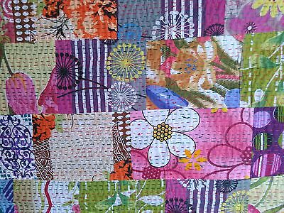 Indian Quilt Kantha & Patch Work Razai Gudri Handmade BedCover All n One Cotton