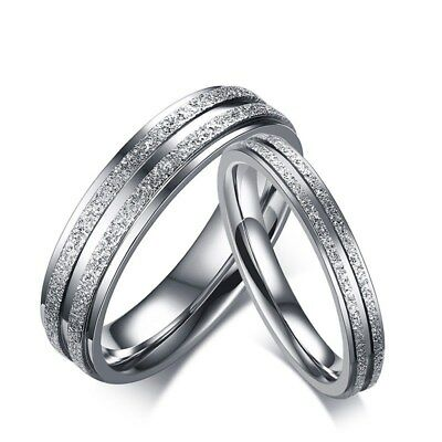 316L Stainless Steel Silver Frosted Band 3/5mm Men Women's Couple Ring Size 5-12
