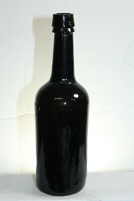 Early Crude Black Glass Beer Ale Bottle - Free Blown 3 Piece Mold #2