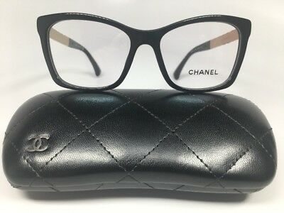 New CHANEL 3356 1581 Black w/Quilted Rose Gold Eyeglasses 52mm w/Chanel Case