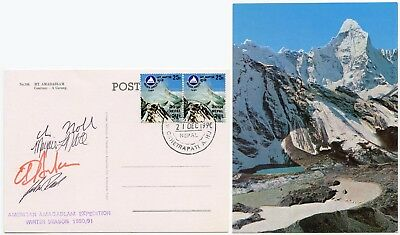 Mountaineering Amadablam Nepal Signed Card American Expedition 1990