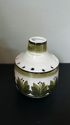 Vintage Green and White Retro Jersey Pottery CI Small Bud Posy Vase