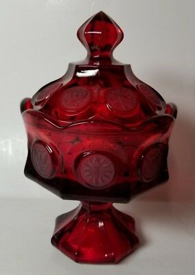 """Fostoria """"coin"""" Ruby Red Wedding Bowl With Lid - Excellent Condition"""