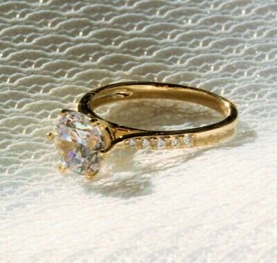 9K gold ring: simulated diamond engagement ring gold, promise ring, ring for her