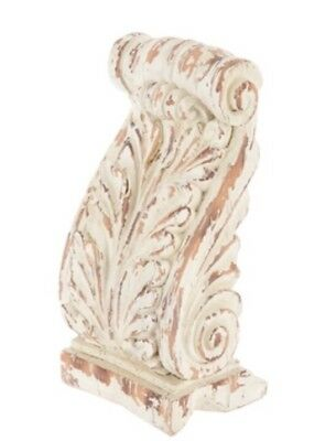 LARGE RUSTIC CORBELS / BRACKETS Distressed Cream Flourish Corbels Set Of 2