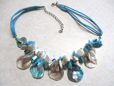 Vintage Estate Jewelry Turquoise Color Dyed Shell Glass Seed Bead Cord Necklace