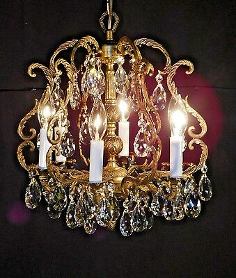 ANTIQUE French 6 Arm 6 Lite Brass Petite Birdcage Lead Cut Crystal Chandelier