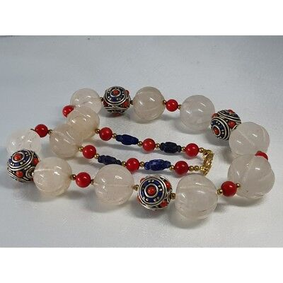 Crystal Old Melon Stone Silver Antique lapis  beads Necklace   # U2