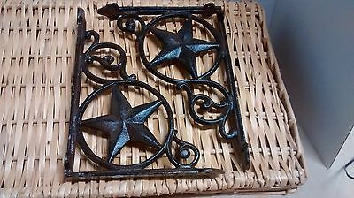 2 Cast Iron Shelf Brackets with a Large Star in a circle. #081-55