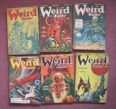 WEIRD TALES six issues from 1948 very good condition LOVECRAFT,RAY BRADBURY,etc