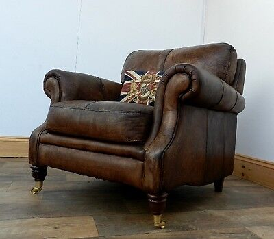 Victorian Style Hand Dyed Cigar Antique Brown Leather Club Armchair 2 Of Pair