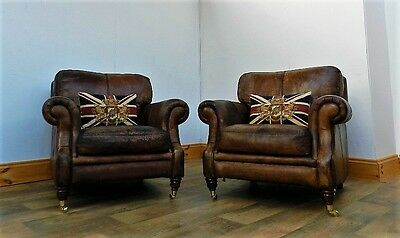 PAIR of VICTORIAN STYLE HAND DYED CIGAR ANTIQUE BROWN LEATHER CLUB ARMCHAIRS
