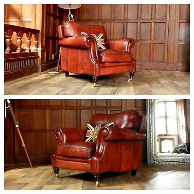 Pair Of Victorian Style Chestnut Tan Brown Leather Chesterfield Club Armchairs