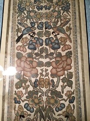Antique Qi'ing 19Th Chinese Embroidered Silk Panel Sleeve Bands Birds Embroidery