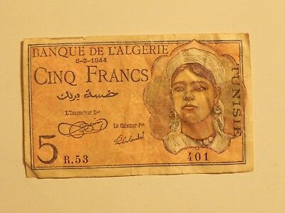 Tunisia 5 Francs 1944, Pick 15, Overprint on Algerian note, Circulated, JCcug