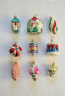 Lot of 9 Vintage Blown Glass Christmas Ornaments Made in Germany Elephant Drum