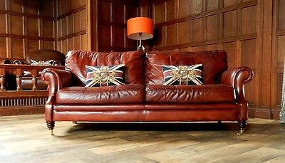 VICTORIAN STYLE CHESTNUT ANTIQUE TAN BROWN LEATHER 3 SEATER CLUB SOFA 2 of PAIR