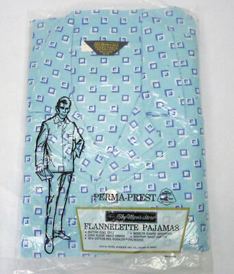 Vintage Mens Flannel Pajamas Set Sears Size XL 46/48 NEW NOS Blue Checker 2 Pc