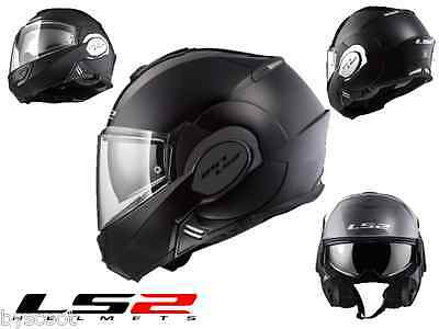 Helmet convertible LS2 FF399 Valiant matte black scooter motorcycle T-Max route
