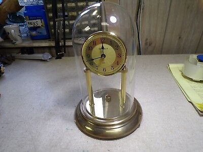 Howard Miller Brass Clock with Glass Dome Cover For Parts or Repair
