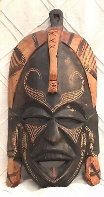Set Of 2 Wood Masks Hand Carved In  Jambo Kenya  Dated 1990 And 1992