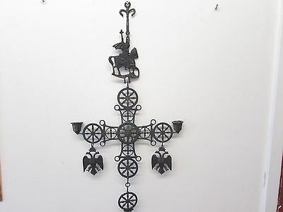 Antique Byzantine Celtic Cross Candle Holder Wrought Iron