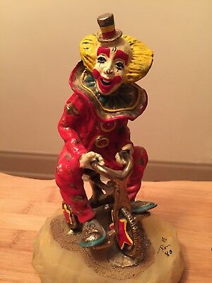 Vintage Ron Lee Tour de Clown on Tricycle Bicycle Signed 1980